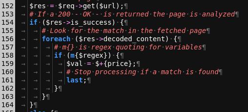 Skærmbillede af Perl kildekode